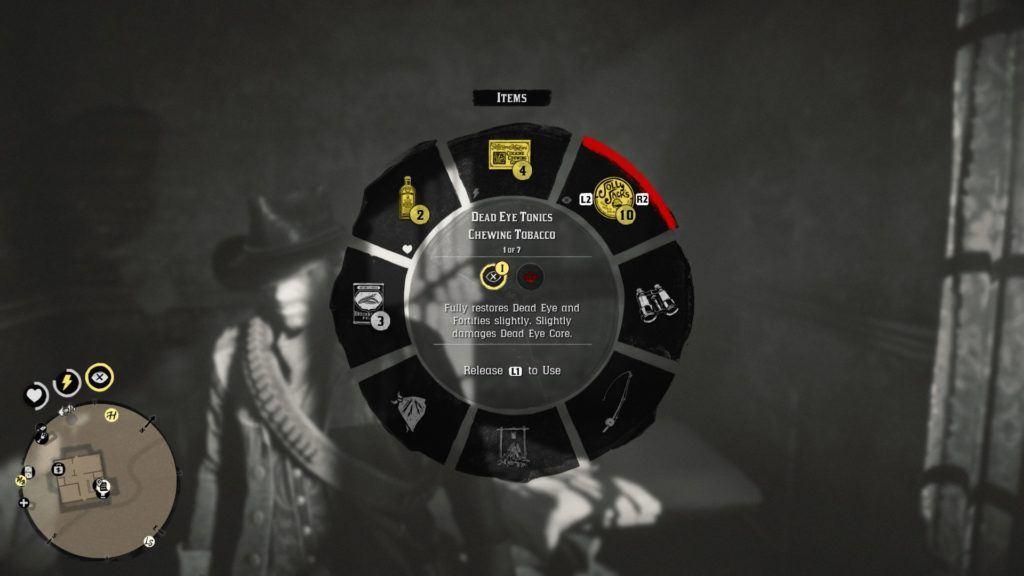 Les joueurs peuvent aussi utiliser des produits du tabac ou faire boire de l'alcool à leur personnage pour remplir leur jauge «œil mort», ce qui leur permet de ralentir le temps afin qu'ils puissent réaliser des tirs très précis avec leur arme.