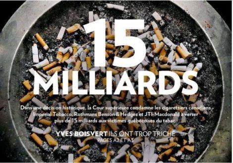 Québec : défaite cinglante de l'industrie du tabac